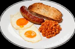 Desayuno de Frijoles al Pomodoro con Salchicha Italiana