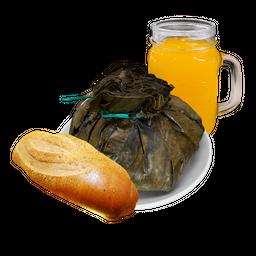 Tamal Tolimense + Jugo natural de Naranja + Pan bagette