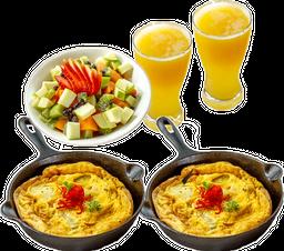 2 Huevos + 2 Jugos + Ensalada de Frutas