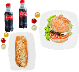 Combo Perro Beto Tradicional + Hamburguesa + 2 Coca Colas