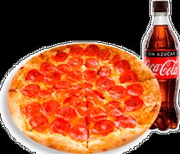 Pizza Mediana de Pepperoni + Coca-Cola sin azúcar 400 ml
