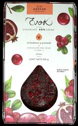 Evok Chocolate 40% Cacao Arándano y Granada Sin Azúcar