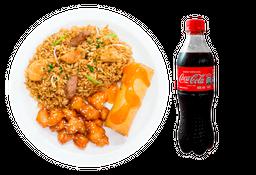 🥘Arroz Mixto + 🍗 Orange Chicken + Egg Roll +  🥤 Coca-Cola