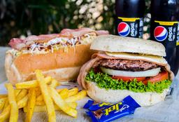 🌭🍔 MEGACOMBO: Ham&Bacon + SuperPerro + Papas + Bebidas