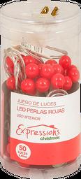 Luces Led Expressions Christmas Forma De Perlas Rojo