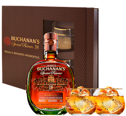 Rappicombo Whisky Buchanans 18 años 750ml + 2 vasos