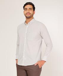 Camisa Para Hombre Regular Fit Estampado A Rayas Blanco