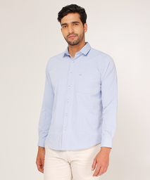 Camisa Unicolor Regular Fit Para Hombre Azul