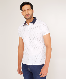Polo Para Hombre Slim Fit Miniprint Ramas Blanco