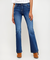 Jean Flare Para Mujer Con Desgastes Color Azul