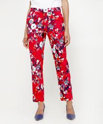 Pantalón Clásico Estampado De Flores Con Bolsillos Diagonales