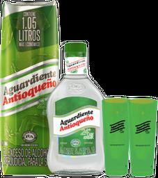 Rappicombo Aguardiente 1lt + Media de Antioqueño + dos copas