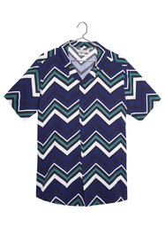 Camisa Manga Corta Cuello Resort Estampado En Ziczac-