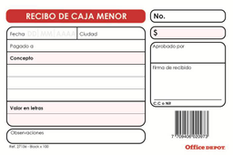 Recibo Caja Menor X100Hj