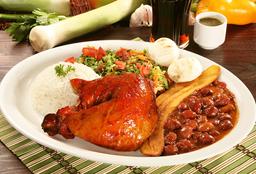 1/4 Pollo + Frijol + Arroz+ Ensalada+ Arepas+ Maduro+ Bebida