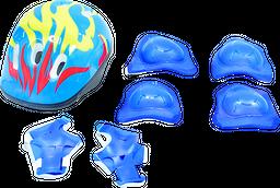 Set Casco Niño + Rodilleras Azul 8+