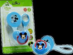 Chupo con tapa y agarradera de clip Mickey-Azul