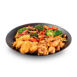 Wok-Box 6 Carne Teriyaki / Pollo con Vegetales y Champiñones