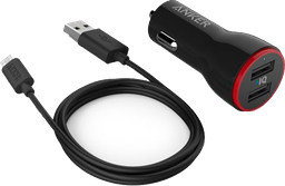 Carga Anker Carro Dual Plug Micro Negro-Rojo 4.8 Amp
