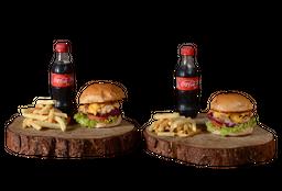 2 Hamburguesas de Pollo + Papas + Coca-Cola