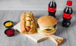 Perro Americano + Hamburguesa + 2 Gaseosas