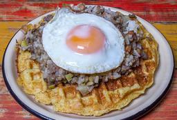 Waffle de Chócolo con Calentado de Lentejas