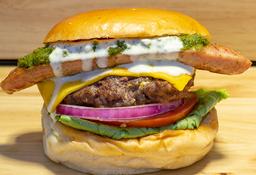 🍔 Hamburguesa Chorizo, Chimichurri Salsa Queso Azul