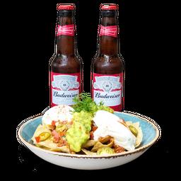 Nachos de la Casa (Pequeños) + 2 Budweiser