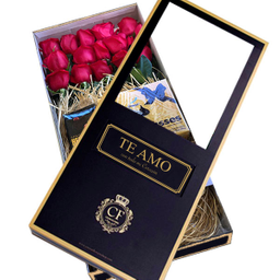 Passion 18 Rosas con Chocolates caja negra