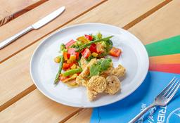 Camarones Apanados con Vegetales