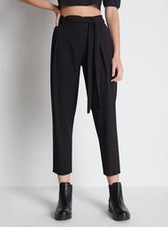 Pantalón Paperbag Unicolor Negro