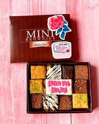 Caja 12 mini brownies surtidos personalizados