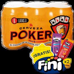 Sixpack Poker Lata+Tubos de goma Fini