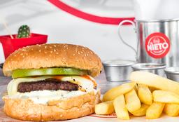 Hamburguesa Sencilla + Tocineta + Papas