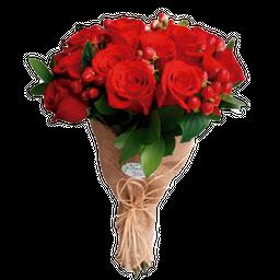 Bouquet En Yute x 12 Rosas