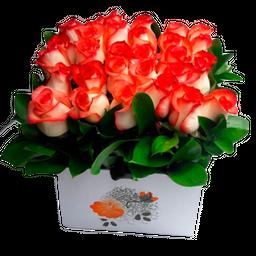 Caja Cuadrada x 25 Rosas