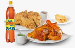 ⭐ Combo Medio Pollo Asado + Medio Pollo Apanado + Yuca + Bebida