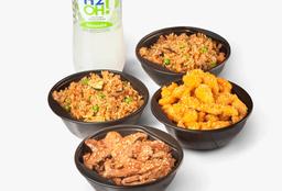 Compartir : Pollo Naranja + Carne Teriyaki + Arroz Wok + Bebida