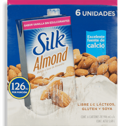 Silk Bebida de Almendra Sabor a Vainilla sin Azúcar 6 Unidades