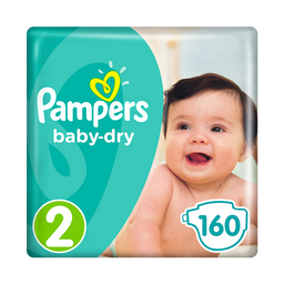 Pañales Pampers Baby Dry Talla 2 - 160u