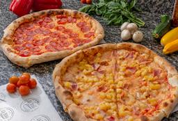 Pizza Mediana y Pizza Chocolate