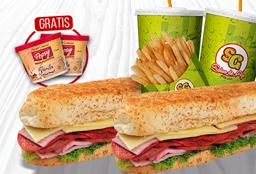 2 Sándwich Italianos + 2 Gaseosas + Papas + 2 Helados Popsy