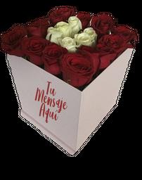 Princess - Caja de rosas blancas y rosadas