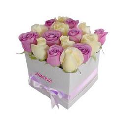 Diamond - Caja de rosas blancas y rojas