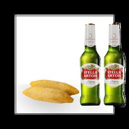 2 Taquitos de Pollo + Stella Artois +  (1 Cerveza gratis)