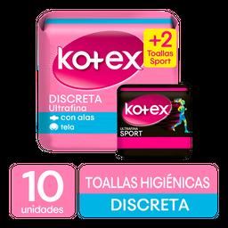 Toalla Higienica Ultrafina Tela Extracontenido Kotex Paquete