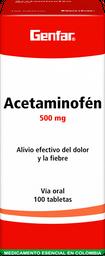 Acetaminofen Genfar Tab 500 Mg Oral Cja 100 Un