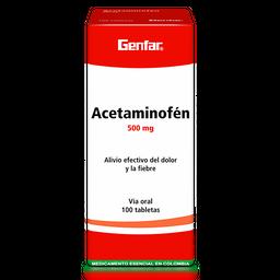 Acetaminofén Genfar 500mg X 100 Tab