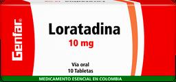Loratadina Genfar Tab 10 Mg Oral Caj 10 Un