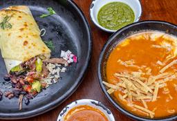 Burrito y Sopa de Tortilla